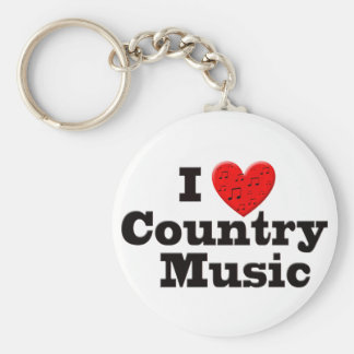I Love Country Music Basic Round Button Key Ring
