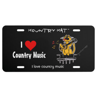 I love country music by Kountry Kat License Plate