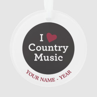 I Love Country Music Ornament