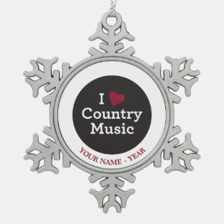 I Love Country Music Pewter Snowflake Decoration