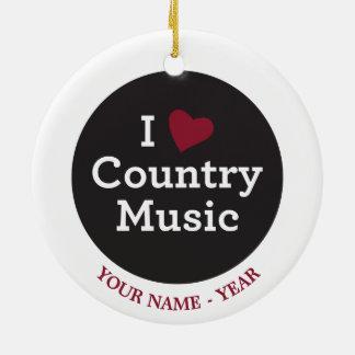 I Love Country Music Round Ceramic Decoration