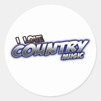 I Love COUNTRY music Round Sticker