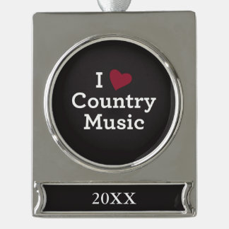 I Love Country Music Silver Plated Banner Ornament
