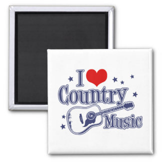 I Love Country Music Square Magnet