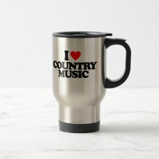 I LOVE COUNTRY MUSIC STAINLESS STEEL TRAVEL MUG
