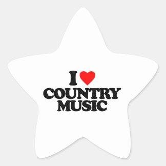 I LOVE COUNTRY MUSIC STAR STICKER