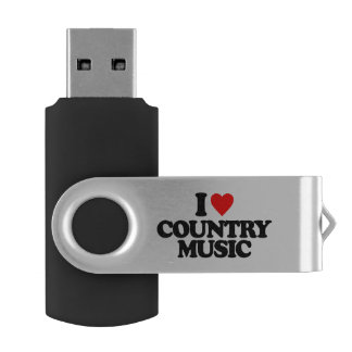 I LOVE COUNTRY MUSIC SWIVEL USB 2.0 FLASH DRIVE