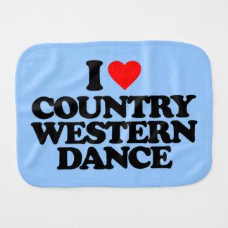 I LOVE COUNTRY WESTERN DANCE BABY BURP CLOTH