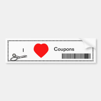 I Love Coupons - Red Heart and Bar Code Bumper Sticker