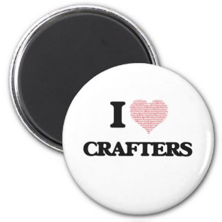 I love Crafters (Heart made from words) 6 Cm Round Magnet