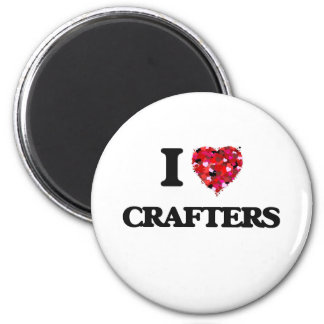I love Crafters 6 Cm Round Magnet