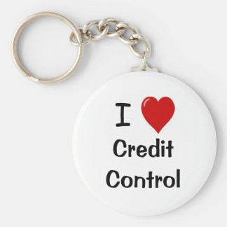 I Love Credit Control - I Heart Credit Control Basic Round Button Key Ring