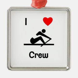 I Love Crew (2) Metal Ornament