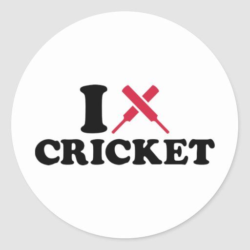 I love Cricket bats Round Stickers