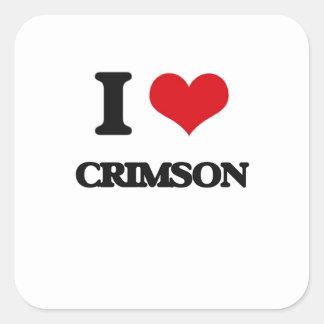 I love Crimson Square Sticker