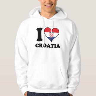 I Love Croatia Croatian Flag Heart Hoodie