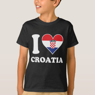 I Love Croatia Croatian Flag Heart T-Shirt