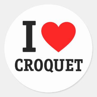 I Love Croquet Round Sticker