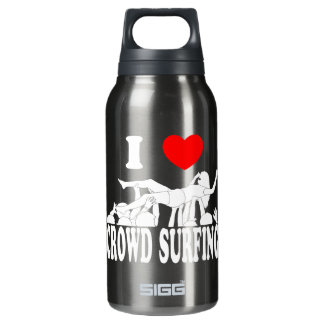 I Love Crowd Surfing (female) (wht) Insulated Water Bottle