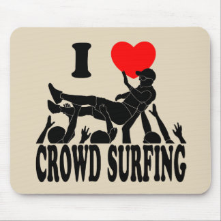 I Love Crowd Surfing (male) (blk) Mouse Pad