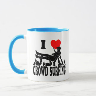I Love Crowd Surfing (male) (blk) Mug