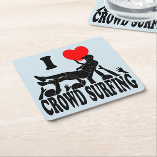I Love Crowd Surfing (male) (blk) Square Paper Coaster
