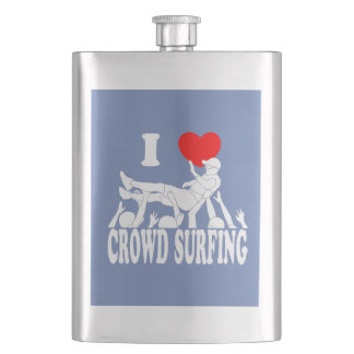 I Love Crowd Surfing (male) (wht) Hip Flask