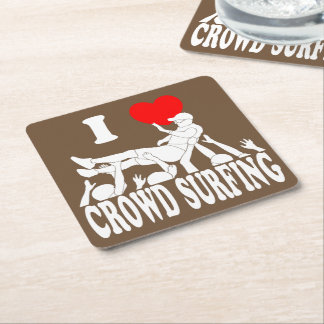 I Love Crowd Surfing (male) (wht) Square Paper Coaster