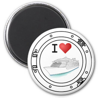 I Love Cruise Ships 6 Cm Round Magnet