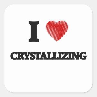 I love Crystallizing Square Sticker