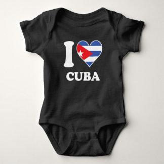 I Love Cuba Cuban Flag Heart Baby Bodysuit