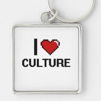 I Love Culture Digital Design Silver-Colored Square Key Ring