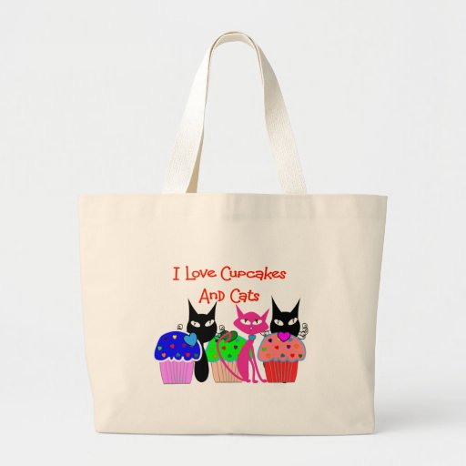 """""""I love cupcakes and cats""""--Cupcake Lovers Gifts Canvas Bags"""
