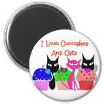 """I love cupcakes and cats""--Cupcake Lovers Gifts Refrigerator Magnets"