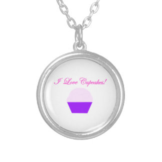 I Love Cupcakes! Silver Plated Necklace