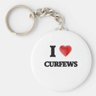 I love Curfews Basic Round Button Key Ring