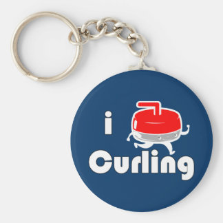 [ I LOVE CURLING ] Vintage Design by SKO Basic Round Button Key Ring