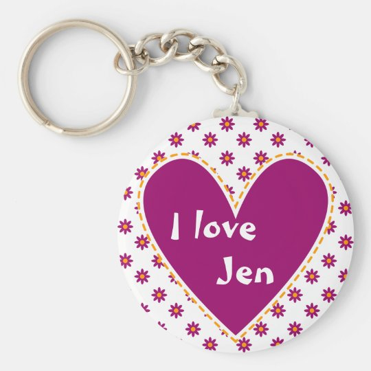 """I love"" - Customise with your name Basic Round Button Key Ring"