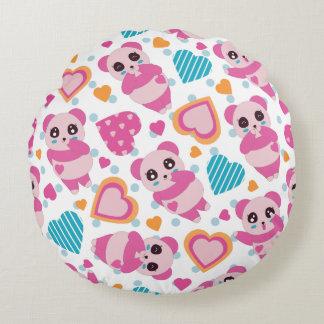 I Love Cute Pandas Round Cushion