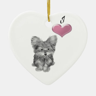 I love Cute Yorkie dog Ornament