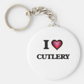 I love Cutlery Basic Round Button Key Ring