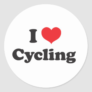 I love cycling classic round sticker