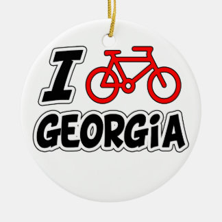 I Love Cycling Georgia Ceramic Ornament