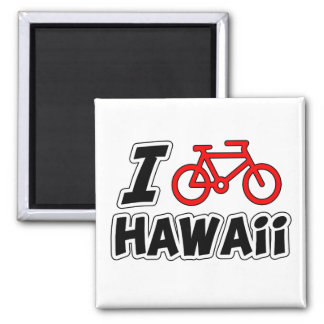 I Love Cycling Hawaii Square Magnet