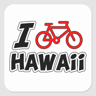 I Love Cycling Hawaii Square Sticker