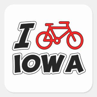 I Love Cycling Iowa Square Stickers