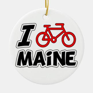 I Love Cycling Maine Ceramic Ornament