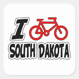 I Love Cycling South Dakota Square Stickers