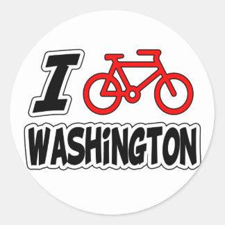 I Love Cycling Washington Round Stickers