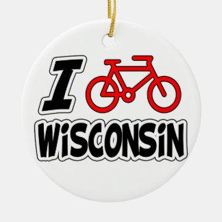 I Love Cycling Wisconsin Ceramic Ornament